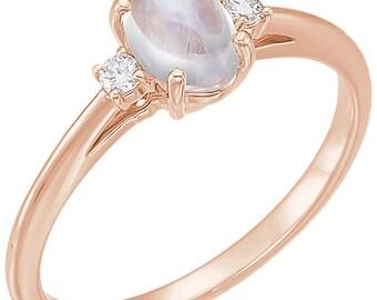 Rainbow Moonstone Diamond 14K Rose Gold Ring
