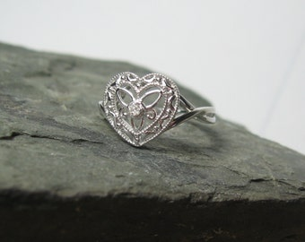 Diamond Promise Ring Sterling Silver, Heart Shaped, Ready to Ship