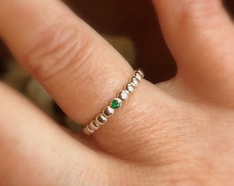 Emerald Stacking Ring, Wedding Band, Dotted Sterling Silver, Flush Gemstone, Diamond,Emerald,Ruby,Sapphire,