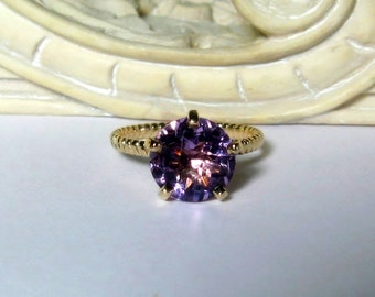 Amethyst Solitaire 14K Gold, Size 6.75, Engagement, Non Traditional, Cocktail, Prong, Rope Band, Ready to Ship