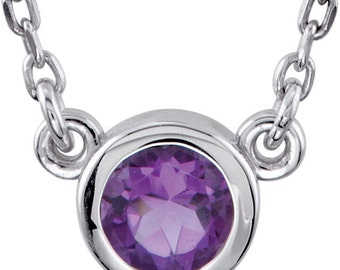 Petite Amethyst Necklace, Solitaire, Sterling Silver Gemstone Pendant