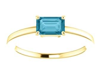 London Blue Topaz Solitaire, Emerald Cut Gemstone Ring