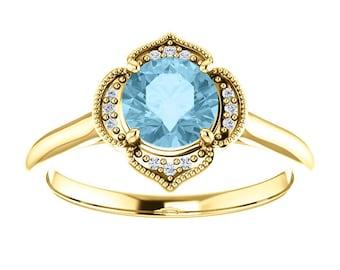 Aquamarine Diamond Halo 14K White Gold Vintage Floral Style Halo Engagement Ring