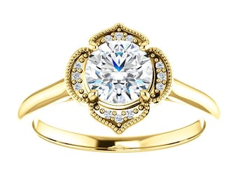 "Moissanite ""Forever One""14K Gold, Diamond Vintage Style Halo Engagement Ring"