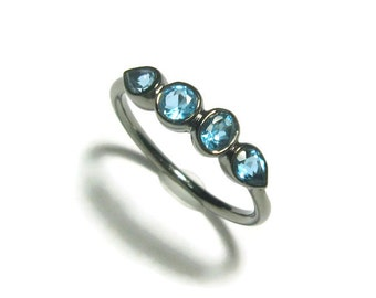 Aquamarine Birthstone Multi Stone Ring, Size 6, Oxidized Sterling Silver Ring, 4 Stone Ring, Ready to Ship