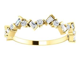 Diamond Baguette Anniversary Band 14K Gold Ring, Whimsical Birthstone Ring, Baguette Diamonds, 14K/18K Gold