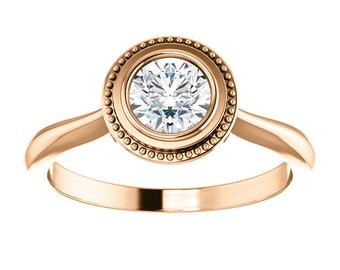Moissanite Solitaire 14K Gold Ring, Stackable Engagement Ring, Rose Gold