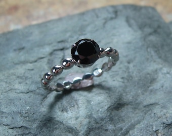 Black Spinel Solitaire Ring, Sterling Silver, Gemstone Ring, Dotted Band,  Ready to Ship, size 7, Gift for Her, Alternative