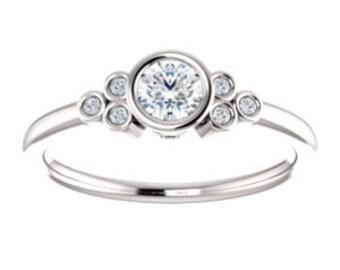 Forever One Moissanite Diamond 14K Gold Ring, Petite, Slim Band