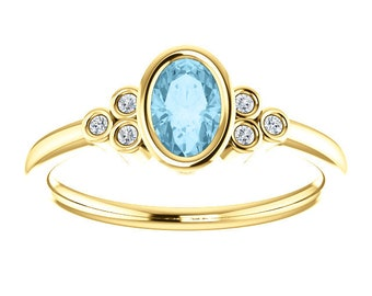 Oval Aquamarine Diamond 14K Gold Ring, March Birthstone