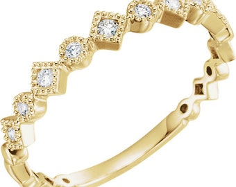 Size 6.5 Diamond Anniversary Band, Stacking Ring, 1/8 CTW, 14K Yellow Gold