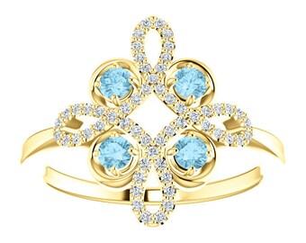 Aquamarine Diamond Statement Ring, Gemstone Clover, 14K Gold, Floral, March Birthstone