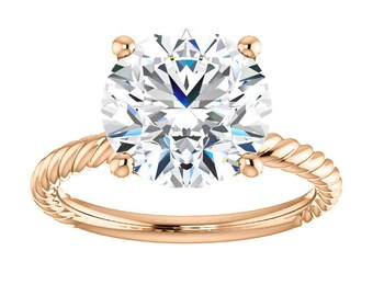 """Moissanite Ring 10mm, Classic 14K Gold Engagement Ring, """"Forever One"""", Bella Ring,  Rope Band"""