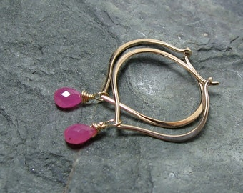 Pink Sapphire Hoop Earrings 14K Solid Gold, Lotus Petal Ear Wires, Gift for Her