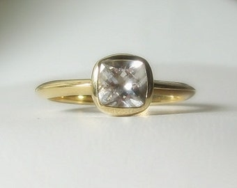"Moissanite ""Forever One"" 14K Gold, Antique Square Gemstone 14K Gold, Conflict Free, Made to Order, yellow, white, rose gold"