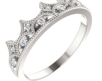 Diamond Crown Eternity Ring, Wedding Band, Stacking Ring