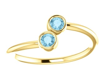 Aquamarine 14k Yellow Gold, Stacking Ring, Made to Order, Dual Stone, Birthstone Ring, Gifts for Her