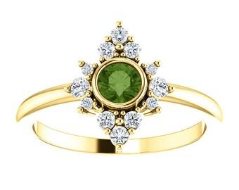 Green Tourmaline Diamond Ring, 14K Gold Cluster Bezel Gemstone Ring, Alternative Engagement, Statement Ring