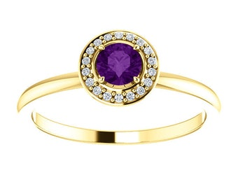 Amethyst Diamond Halo 14K Gold Ring, 14K White, Yellow, Rose Gold, Stackable