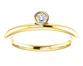 Asymmetrical Moissanite Stacking Ring, 14K Gold, Alternative Engagement, April Birthstone