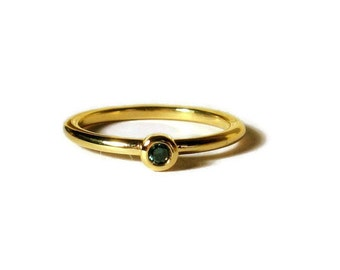 Blue Diamond Ring, 18K Gold, minimalist, mini stacking ring, promise ring, Ready to Ship, Size 6