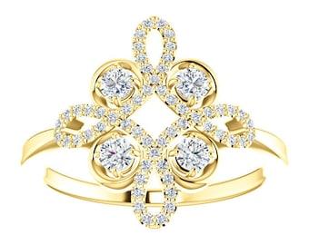 Diamond Clover Statement Ring, 14K Gold Yellow, White, Rose Gold, 3/8CTW, April Birthstone