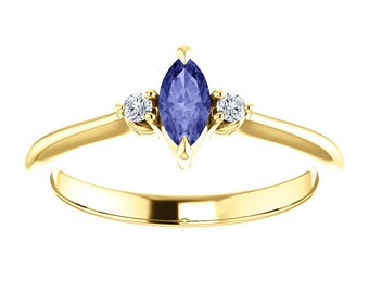 Marquise Tanzanite Diamond Ring, 14k / 18K Gold Prong Setting, Unique Engagement, Anniversary Ring