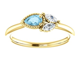 Aquamarine Sapphire 14K Gold Ring, Pear Aquamarine, Marquise Sapphire, Side Swept Cluster Ring, March Birthstone