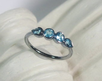 Sky Blue Topaz Gemstone Ring, 4 Stone Band, Oxidized Sterling Silver, Multi Stone Ring, Low Profile