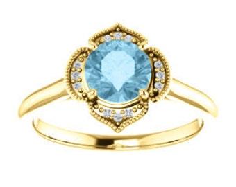 Aquamarine Diamond 14K White Gold Vintage Floral Style Halo Engagement Ring