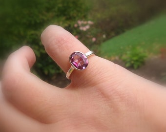 Oval Pink Tourmaline Ring, Sterling Silver, Size 5, Ready to Ship, Stackable Ring