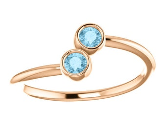 Aquamarine 14K Rose Gold, Stacking Ring, Made to Order, Two Stone, March Birthstone