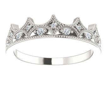 25% OFF Eternity Ring, Sterling Silver Ring Diamond Crown Band