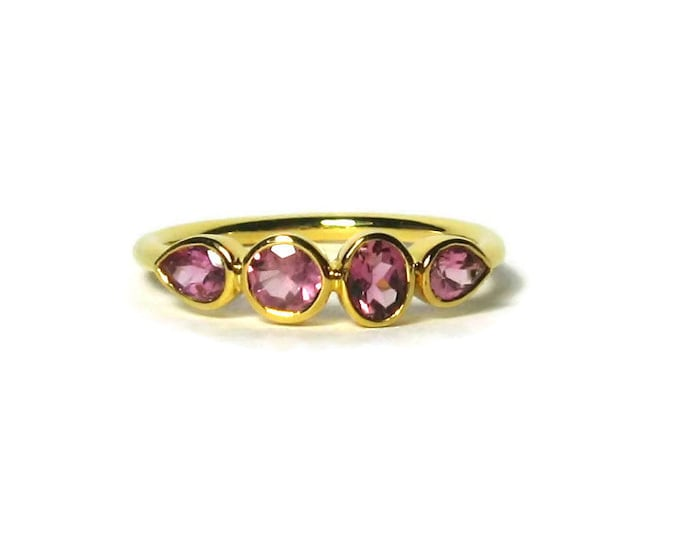 Featured listing image: Pink Tourmaline Gemstone Band 14K Rose Gold Birthstone Ring, 4 Stone Ring, white gold, yellow gold, Made to Order