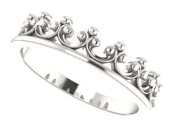 Silver Crown Ring, Sterling Silver Stackable, Friendship Ring, Queen's Crown Stacking Ring, Tiara, Royal Crown Ring