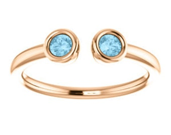 Aquamarine 14K Rose Gold Two Stone Ring, Stacking Ring, March Birthstone Ring