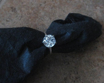 White Topaz Solitaire, Size 6, Sterling Silver, Non Traditional, Cocktail, Prong, Rope Band, Ready to Ship
