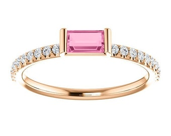 Rose Pink Sapphire Diamond Stackable 14K Gold Band, Sapphire Baguette, Non Traditional Wedding