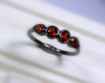 Garnet Ring, Size 6.25, Ready To Ship, January Birthstone, 4 Stone Ring, Low Profile, Oxidized Sterling Silver