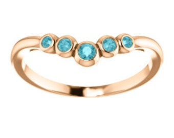 Blue Zircon 14K Gold, Graduated Contour Band, Birthstone Ring