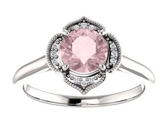 Morganite Diamond  Flower Halo Engagement Ring, Round Gemstone, 14K Gold
