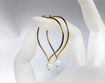 Pearl Hoop Earrings, Vermeil Lotus Ear Wires, Swarovski Crystal Pearls, Brushed Finish, Gifts for Her