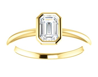"""Moissanite Emerald Cut """"Forever One"""" 14K Gold Ring, Yellow, White, Rose Gold, Non Traditional Engagement Ring"""