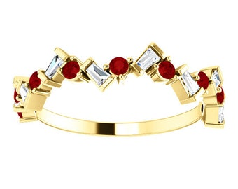 Ruby Baguette Diamond Anniversary Band 14K Gold Ring, Whimsical Birthstone