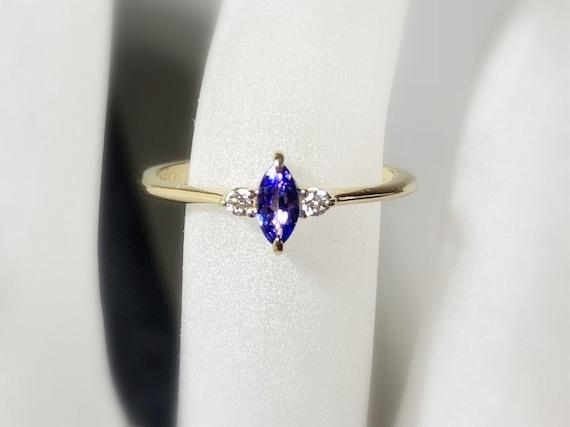Marquise Tanzanite Diamond Ring 14k 18k Gold Prong Setting Etsy