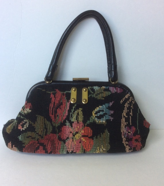 VINTAGE 1950s 1960s Tapestry Carpet Bag Purse Hand