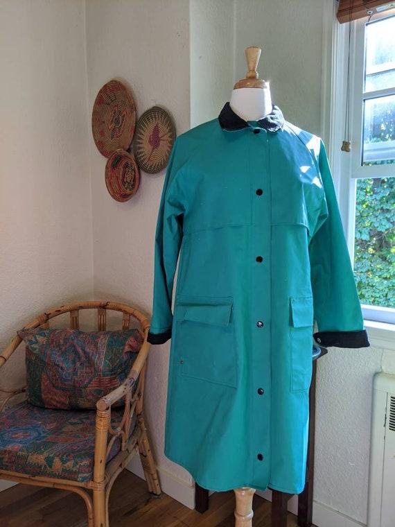 Vintage Teal Vinyl rain jacket coat S with bucket