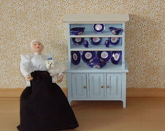 1/12th Scale Hand painted dresser and delph.
