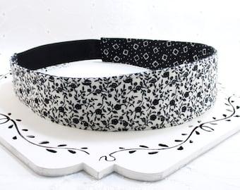 Black White Headband, Black Headband, White Headband, Teen Adult Fabric Headband, Flower Headband, Reversible Headband, Gift Under 10