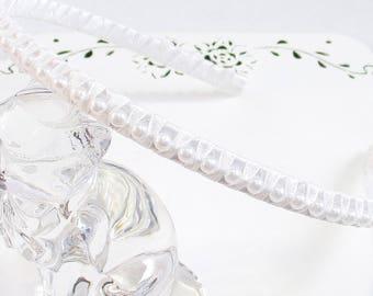 White Pearl Headband, White Communion Headband, Pearl Hair Accessory, Wedding Hair Band, Beaded Headband, Flower Girl Hair